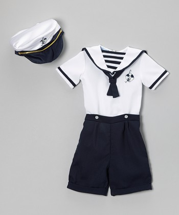 Navy Nautical Shortalls Set - Infant & Toddler