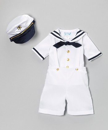 White Nautical Shortalls Set - Infant & Toddler