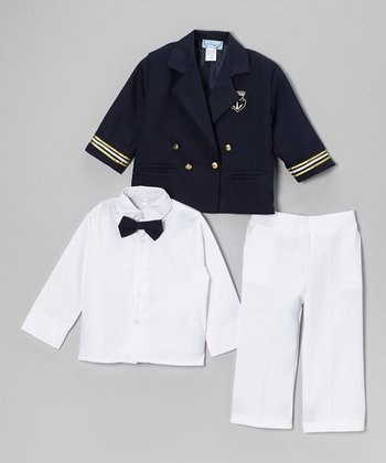 Navy Four-Piece Double-Breasted Suit Set - Infant & Toddler