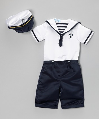 Navy Nautical Satin Shorts Set - Infant & Toddler