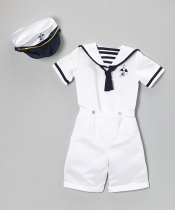 White Nautical Satin Shorts Set - Infant & Toddler