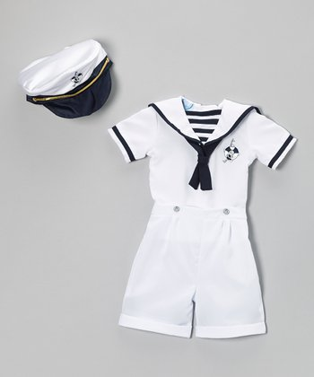 White Nautical Shorts Set - Infant & Toddler