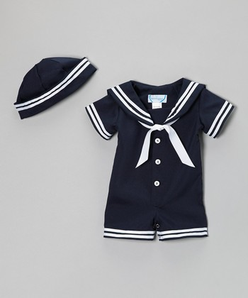 Navy Nautical Romper & Beanie - Infant