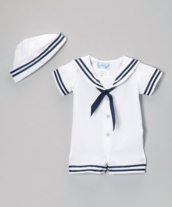 White Nautical Romper & Beanie - Infant