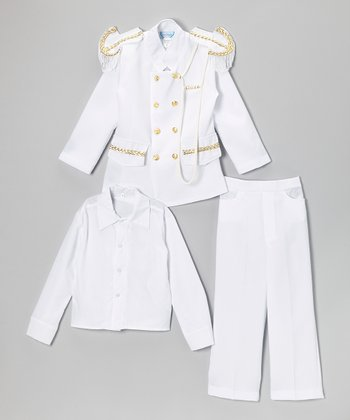 White & Gold Three-Piece Officer Suit - Infant, Toddler & Boys