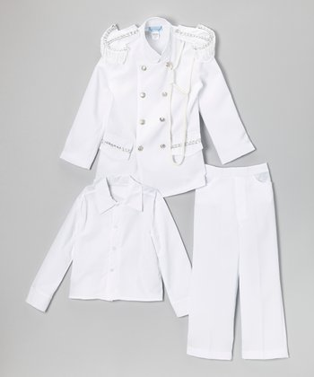 White & Silver Three-Piece Officer Suit - Infant, Toddler & Boys