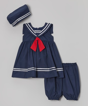 Jayne Copeland Navy Sailor Dress Set - Infant