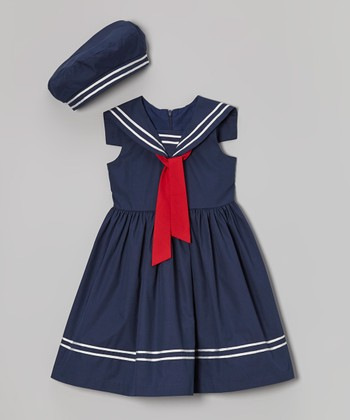 Jayne Copeland Navy Sailor Dress & Beret - Toddler & Girls