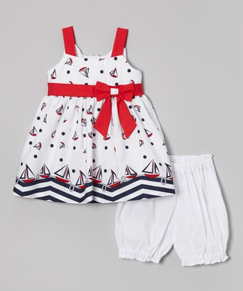 Jayne Copeland White Sailboat Dress & Bloomers - Infant