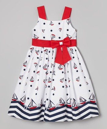 Jayne Copeland White Sailboat Dress - Girls