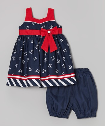 Navy & Red Anchor Dress & Bloomers - Infant
