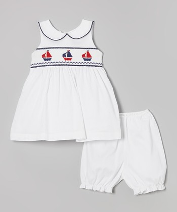Jayne Copeland White Sailboat Smocked Dress & Bloomers - Infant
