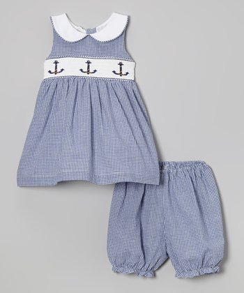 Jayne Copeland Navy Gingham Anchor Smocked Dress & Bloomers - Infant