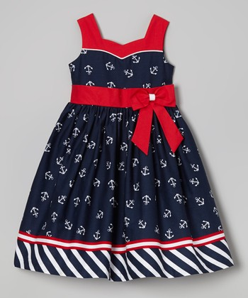 Jayne Copeland Navy & Red Anchor Dress - Girls