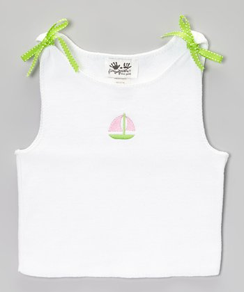 White & Pink Sailboat Tank - Toddler & Girls