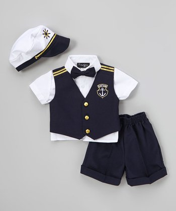 Fouger for Kids Navy & White Sailor Vest Set - Infant, Toddler & Boys