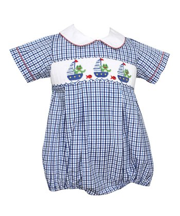 Blue Plaid Frog Boat Smocked Bubble Bodysuit - Infant