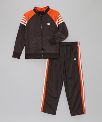 Charcoal & Tangerine Track Jacket & Pants - Boys