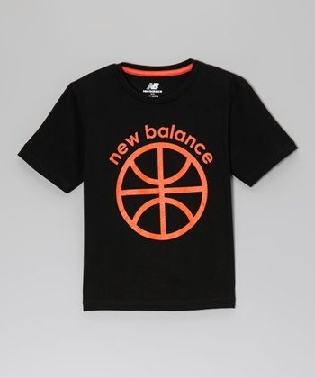 Charcoal & Neon Orange Basketball Tee - Boys