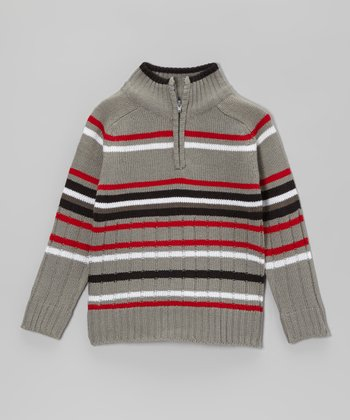 Heather Gray & Red Stripe Pullover - Toddler & Boys