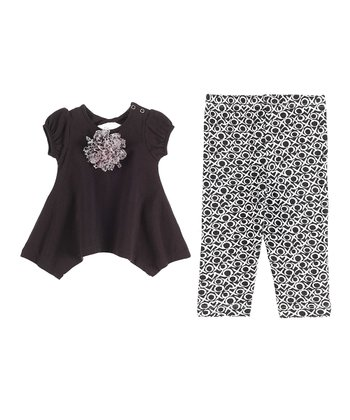 GANZ Black Rosette Handkerchief Tunic & 'XO' Leggings