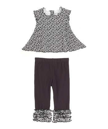 GANZ Black 'XO' Swing Top & Ruffle Leggings