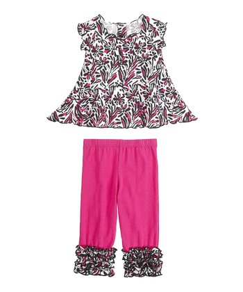 GANZ Pink Floral Swing Top & Ruffle Leggings