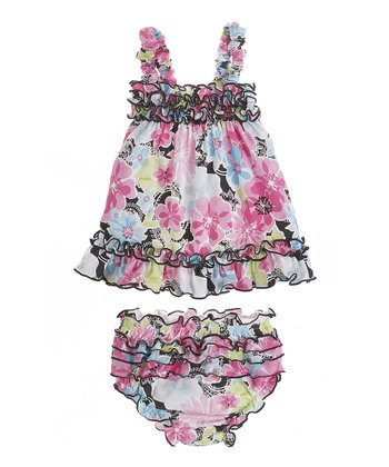 GANZ Pink Floral Ruffle Dress & Bloomers