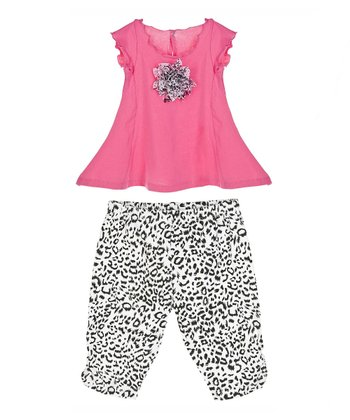 GANZ Pink Rosette Swing Top & White Cheetah Leggings