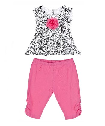 GANZ White Cheetah Rosette Swing Top & Pink Leggings