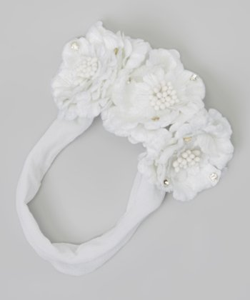 White Hazel Flower Headband
