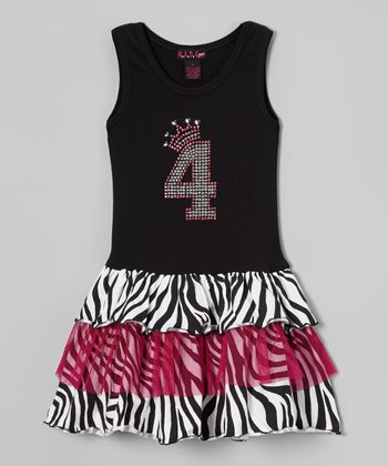 Black & White '4' Zebra Ruffle Dress - Girls