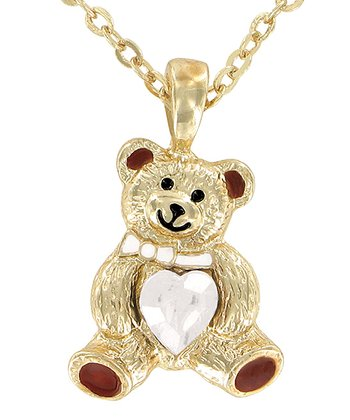 Pearl Bear April Birthstone Necklace & Jewelry Box