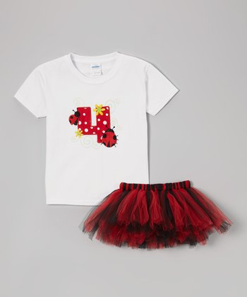 Black & Red '4' Ladybug Tee & Tutu - Toddler & Girls