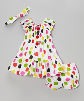 Fuchsia Polka Dot Puff-Sleeve Dress Set - Infant