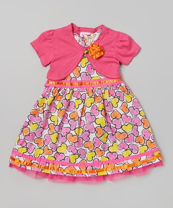 Pink Heart Dress & Shrug - Infant & Toddler