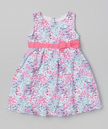 Pink & Blue Floral A-Line Dress - Toddler & Girls