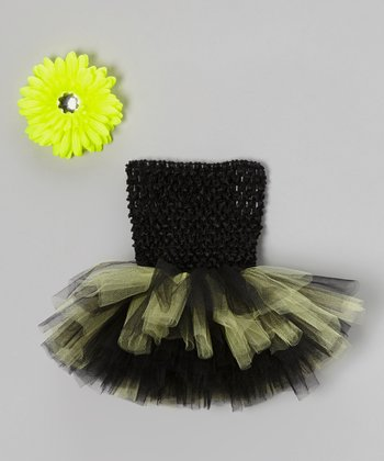Black & Neon Tutu Dress & Flower Clip - Infant, Toddler & Girls