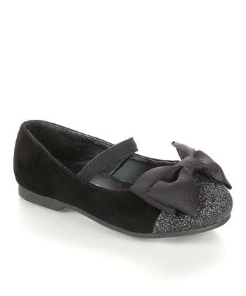 Black Bow Glitter Flat