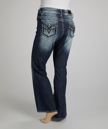 Dark Wash Dallas Half Moon Bootcut Jeans - Plus