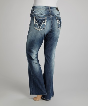 Medium Wash Feather Chelsea Bootcut Jeans - Plus