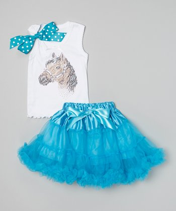 White Horse Tank & Turquoise Pettiskirt - Infant, Toddler & Girls