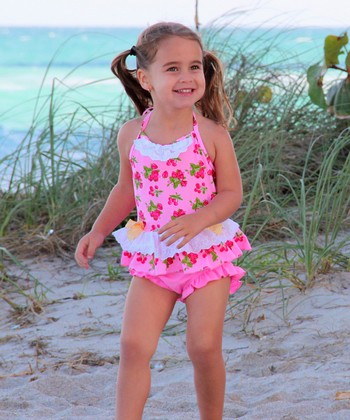 Pink Cherry Vintage Lace Skirted One-Piece - Toddler
