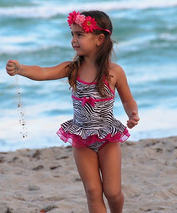 Hot Pink & Black Zebra Bow Skirted One-Piece - Toddler & Girls