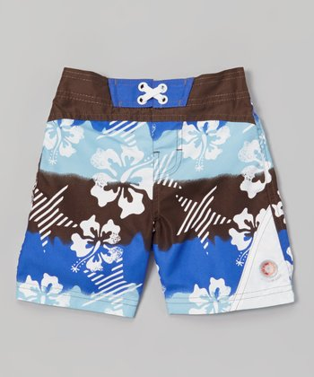 Chocolate & Blue Sun Alert Swim Trunks - Infant, Toddler & Boys