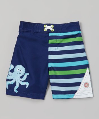 Navy Octopus Sun Alert Swim Trunks - Infant