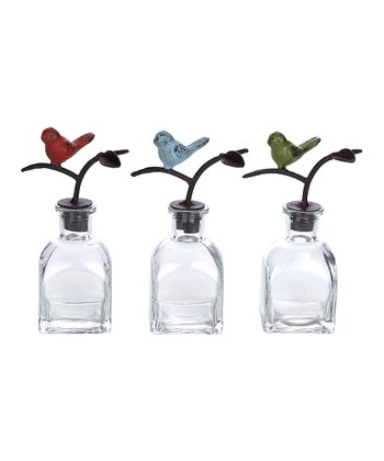 Glass Bottle & Bird Stopper Set