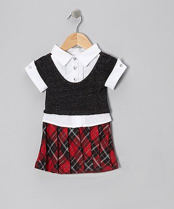 Black & Red Plaid Layered Dress - Toddler & Girls