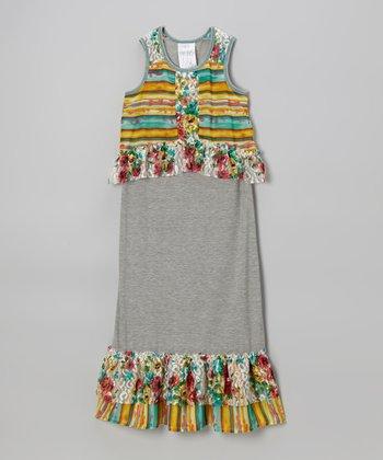 Heather Gray Floral & Stripe Overlay Maxi Dress - Girls