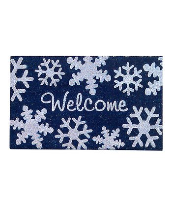 Royal Blue 'Welcome' Snowflake Doormat